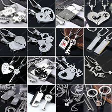 Men Women Couple Lover Necklace LOVE HEART Significance Pendant Stainless Steel