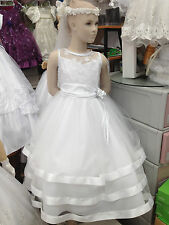 Toddler Girl White Dress for Pageant Wedding Holiday First Communion Made in USA