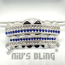 Silver Iced Out GRILLZ Blue Stripe CZ Icy Bling Mouth Teeth Caps Hip Hop Grills