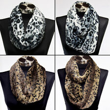 Faux Fur Leopard Animal Print Infinity Scarf Circle Cowl Snood Winter Warm Hijab