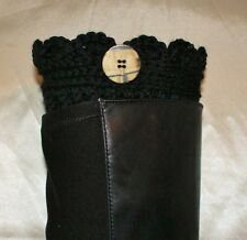 Black Handmade Crochet Boot Cuffs Boot Toppers Leg Warmers S,M&L