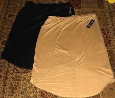 Womens Plus Moda FAUX SUEDE SKIRT~size 3X NWT~Black Tan Beige~Asymmetrical LONG