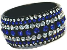 Cubic Zirconia Extra Wide Bangle Bracelet Black Lucite Blue Green Red Clear