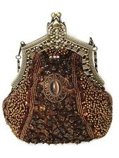 Evening Bag Victorian Style Fully Beaded Crystal Purse Black or Brown