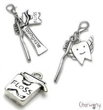 Dental charms ~ toothbrush toothpaste tooth fairy dentist floss Tibetan silver