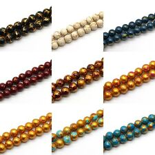8mm Marbleized Opaque Glass Beads, Gold Crackle & Fancy Spot - Choose Color