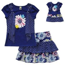 Dollie & Me Girl 4-12 and Doll Matching Blue Outfit Clothes fit American Girls