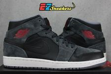 AIR JORDAN 1 MID 554724-018 SUEDE BLACK RED GREY DS NEW SIZE: 9 9.5