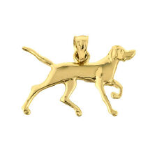 Solid Yellow Gold German Shorthaired Pointer Dog Pendant