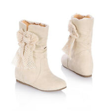 New Fashion  Bowtie Classic Mid-calf Women High Heel Boots 3 Colors Dress Size