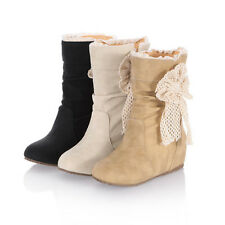 womens boots Bowtie Midcalf winter flat boots work boots for women new Christmas