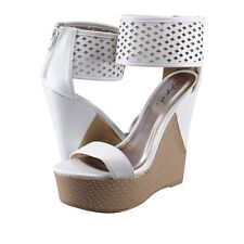 Women's Shoes Qupid Florence 25 Ankle Strap Platform Wedge Sandals White *New*