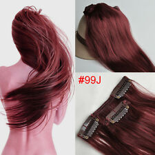 """Hot Red Wine Burgundy Full Head Clip In Human Hair EXtensions #99j 14-30"""" THIN"""