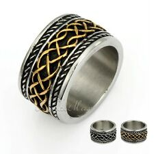 Irish Celtic Knot  Mens Black Gold Silver Tone Band 316L Stainless Steel Ring