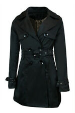 New Women's Slim Fit Double Breasted Belted Trench Coat Long Jacket Outwear 6-12