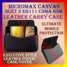 HORIZONTAL LEATHER CARRY CASE for MICROMAX DUET 2 EG111 CDMA GSM POUCH COVER NEW