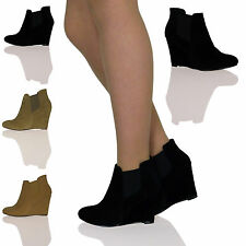 WOMENS LADIES MID HEELS WEDGES HEELS SHOES BOOTIES CHELSEA BOOTS ANKLE SIZE NEW