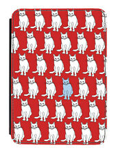 Vintage Cats Red Tablet Cover Case Retro Love Cat Pet Animal Cute Pattern Cool