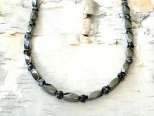 Men's Women's Powerful Magnetic Hematite Necklace Strong! SNOWFLAKE OBSIDIAN AAA