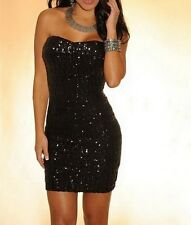 WOMENS BLACK SEQUIN DRESS PARTY BODYCON BANDAGE DISCO CLUB WEAR SIZE 6 8 10 12