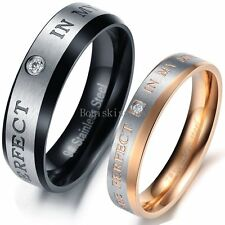 Rose Gold / Black Plated Stainless Steel Couples Ring Engagement Wedding Band
