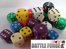20 12mm OPAQUE SIX SIDED SPOT DICE - GAMES RPG D6 10 Colours - NEW - Educational