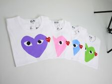 """2014 Fasion New COMME Des GARCONS CDG """"PLAY MEN'S"""" T-SHIRT TEE WHITE  L XL"""