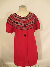 Charter Club Short Sleeve Button Front Cardigan Sweater S Red NWT