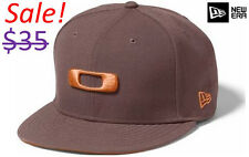 Oakley Men New Era 59Fifty Fitted Square O Factory Pilot Icon Logo Brown Hat Cap