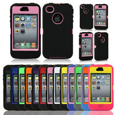 Hybrid Body Armor Defender Hard Protective Case Cover For iPhone 4 4S