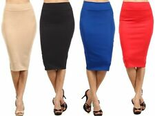 Career Solid Stretch Knit Fitted Pencil Straight Slim Midi Skirt Banded Waist