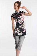 black chinese Women's silk Tops Dress/ T-shirt S-xxl 6028