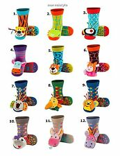 Baby Boys Girls Terry Socks with ABS & 3D Animal Rattle age 0-24 months AWESOME!