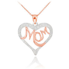 Mother's Day Gifts 14K Two-Tone Rose Gold Studded Diamonds MoM Heart Pendant