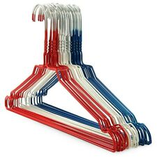 HIGH QUALITY METAL WIRE NOTCHED COAT CLOTHES HANGERS RED WHITE & BLUE
