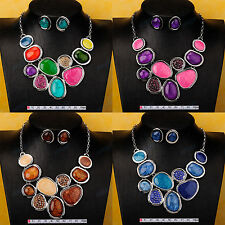 4-Colors 18K Gold GP Chain Bubble Shape Bib Statement Necklace Earrings Set XL28