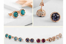 Beautiful Gold Plated Swarovski Crystal Elements Stud Earrings Assorted Colours