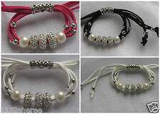 LADIES ROPE CHARM BRACELET PEARL & RHINESTONE BEADS ADJUSTABLE ONE SIZE FIT ALL