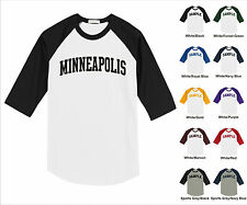 City of Minneapolis College Letter Team Name Raglan Baseball Jersey T-shirt