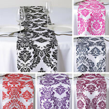 "5 pcs FLOCKING TABLE RUNNERS 12x108"" Wedding Party Catering Linens Supplies SALE"