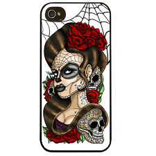 Cover for Iphone 4 4S Day of the Dead pin up girl tattoo sugar skull Phone case