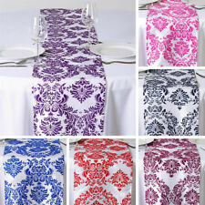 "15 pcs FLOCKING TABLE RUNNERS 12x108"" Wedding Party Catering Linens Supply SALE"