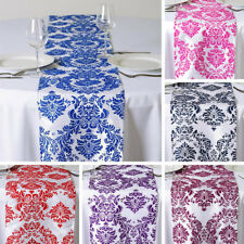 "24 pcs FLOCKING TABLE RUNNERS 12x108"" Wholesale Wedding Party Catering Linens"