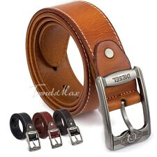 Mens Top Grain Genuine Leather Cowhide Business Casual BELT Single Prong Buckle