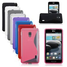 TPU Rubber S-line Back Case Cover Protective Skin For LG Optimus F6 MS500 D500