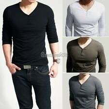 Hot Mens Slim Fit Cotton+Lycra V-Neck Muscle Long Sleeve Casual T-Shirt Tops