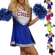 HIGH SCHOOL CHEER LEADER LEADING GIRL FANCY DRESS COSTUME OUTFIT + POM POMS