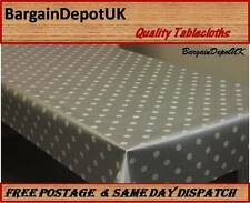 Polka Dots PVC Vinyl Wipe Clean Tablecloth - ALL SIZES Code:P116 -SILVER