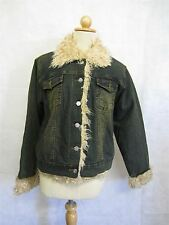 LADIES DENIM JACKET Faux Fur Collar Coat Womens Clothing Made 4U Jeans Blue