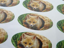 Fox Oval Seal Labels, Animal, Wildlife Stickers for Gift Wrap, Envelopes, Cards